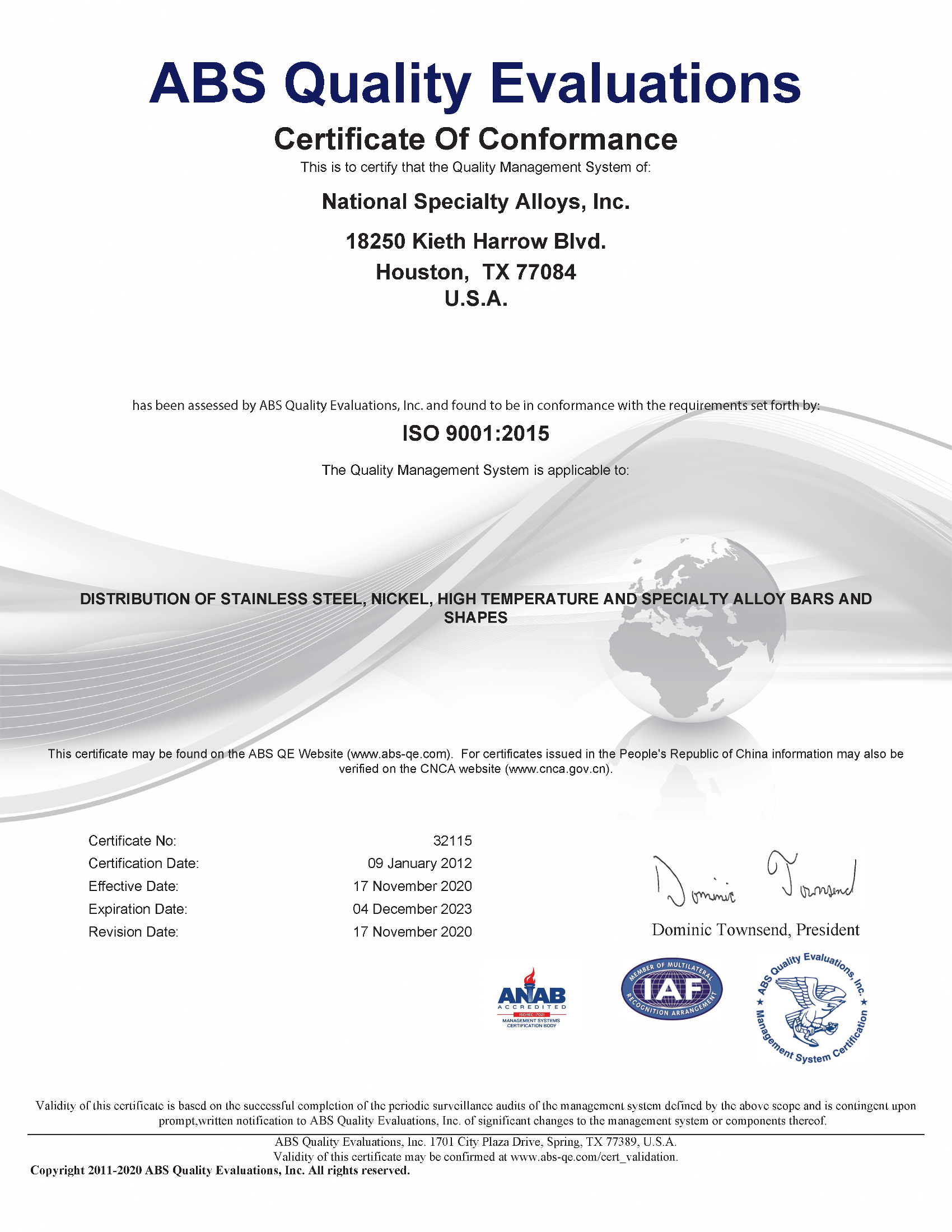 Iso Certification National Specialty Alloys